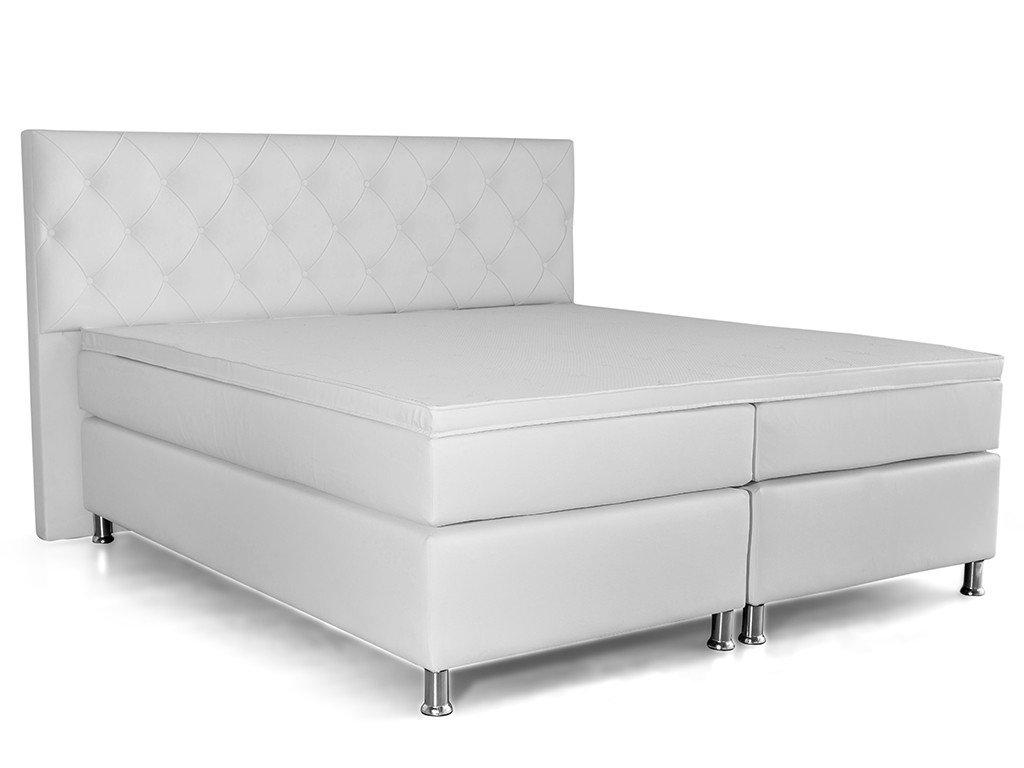 Boxspringbett TURIN Doppelbett Amerikanisches Bett Hotelbett 180x200 cm Kunstleder Weiß