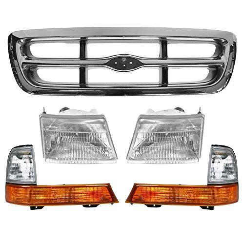 Chrome Grille Parking Light Headlight Set for 98-00 Ford Ranger Pickup Truck