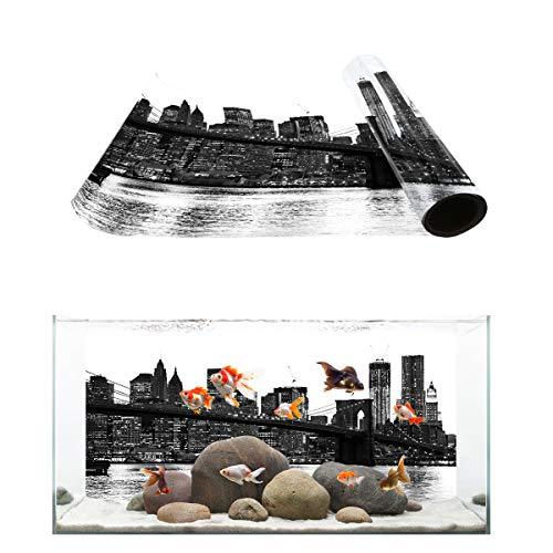 Libaoge Aquarium Background, Black and White Brooklyn Bridge NYC Views Fish Tank Background Decoration PVC Sticker Wallpaper Photo Adhesive Paper Poster Backdrop 36.4