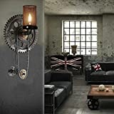 HOMEE Wall lamp- loft retro industrial wind creative gear water pipe iron wall lamp aisle cafe restaurant bar wall lamp (style optional) --wall lighting decorations,A