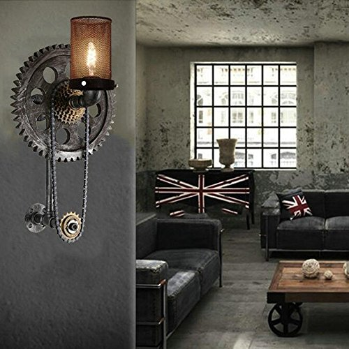 HOMEE Wall lamp- loft retro industrial wind creative gear water pipe iron wall lamp aisle cafe restaurant bar wall lamp (style optional) --wall lighting decorations,A by HOMEE