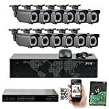 GW 16 Channel 5MP NVR Video Security Camera System - Twelve 5MP 1920P Weatherproof 2.8-12mm Varifocal Bullet Cameras, 180ft IR Night Vision, Realtime Recording 1080p @ 30fps, Pre-Installed 4TB HDD