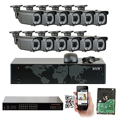 GW 16 Channel 5MP NVR Video Security Camera System - Twelve 5MP