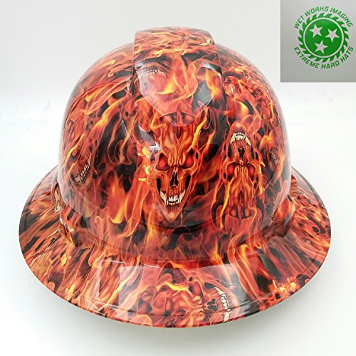 Suspension Inferno - Wet Works Imaging Customized Pyramex Full Brim Inferno Skulls Hard Hat With Ratcheting Suspension
