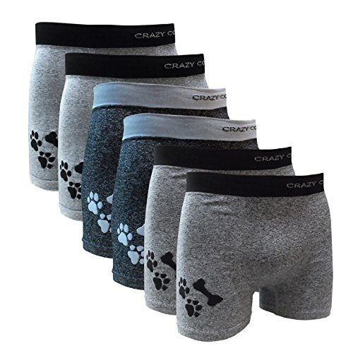 12 Mens Boxer Briefs - Crazy Cool Nylon Stretchable Seamless Mens Boxer Briefs Underwear 6-Pack (Medium/Large, Heather Grey Doggy Print-6Pack)