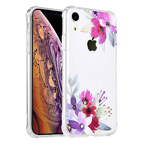 KIMICO Floral Case for iPhone XR, [Four Corners Thicken Shockproof] Clear Cute Vintage Tropical Flower Design for Girls [Slim Fit & Anti-Scratch] Transparent Soft Protective Cover (LeFloral XR) (Iphone 4 Cases Floral Vintage)