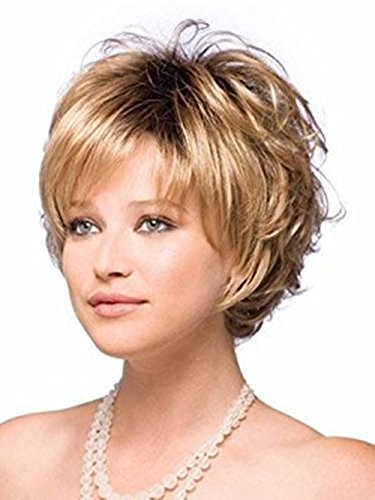 Beauty : ELIM Short Wig Gold Curly Hair Wigs for Women Full Fluffy Synthetic Natural Looking Wigs with Wig Cap Z070