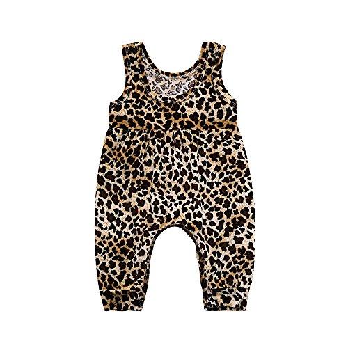 l Jumpsuit Summer Leopard Print Jumper Romper Bodysuit Casual Playsuit Clothes Jumpsuit Outfits (Coffee, 9-12 Months) ()