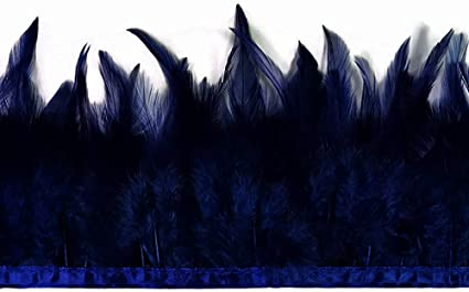 1 Yard Blue Rooster Neck Hackle Saddle Feather Wholesale Trim Craft Supply