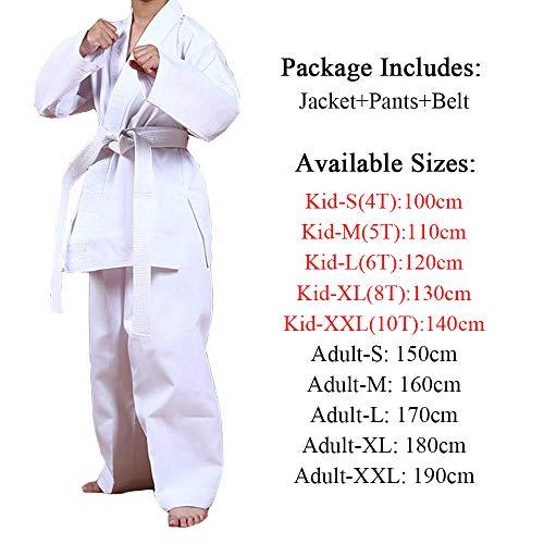 Kids Taekwondo Student Uniform White Karate Dobok Martial Arts Costume Taekwondo Gi Judo Uniform Fight Wear Kungfu Sports Suit Adult (White, XXL-Adults)