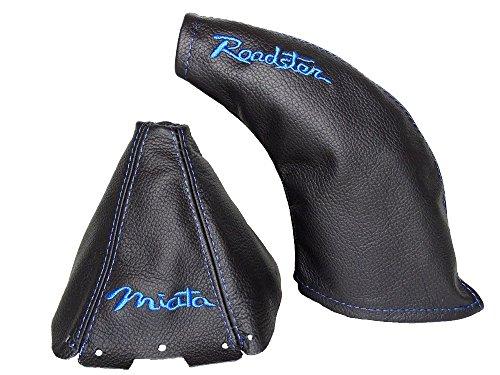 The Tuning-Shop Ltd for Mazda MX-5 MK2 1998-2005 Shift & E Brake Boot Black Genuine Leather Blue Miata & Roadster - Roadster Shift