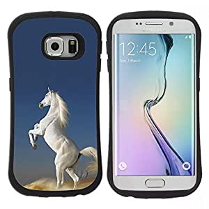 "Pulsar iFace Series Tpu silicona Carcasa Funda Case para Samsung Galaxy S6 EDGE / SM-G925(NOT FOR S6!!!) , Desierto Blanco Caballo salvaje Unicornio mágico"""