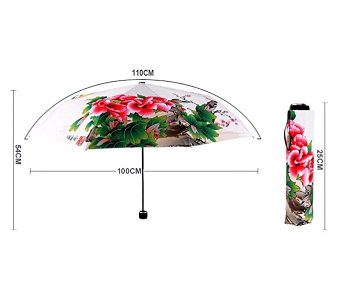 Paraguas a prueba de viento 8 costilla Resistente al viento bastidor plegable antideslizante de goma de agarre doble con dosel de protección solar anti-UV ...