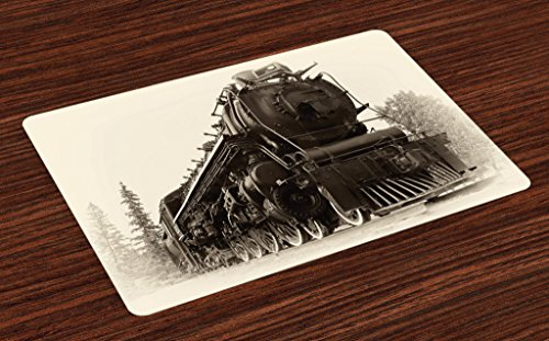 (Ambesonne Steam Engine Place Mats Set of 4, Antique Northern Express Train Canada Railways Photo Freight Machine Print, Washable Fabric Placemats for Dining Room Kitchen Table Decor, Black Grey)