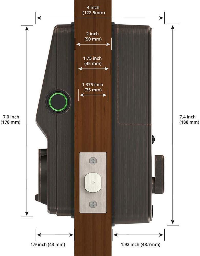 PGD 728W Patented Keypad Dead Bolt, Venetian Bronze iOS Android Compatible 3D Fingerprint Sensor Bluetooth Fingerprint WiFi Keyless Entry Smart Door Lock Lockly Secure Pro Dead Bolt Edition