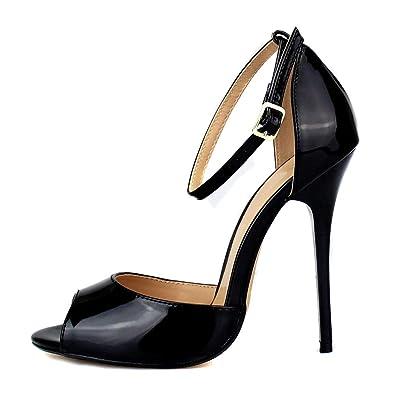 86c97bc71e343 MAIERNISI JESSI Unisex Men's Women's Peep Toe Stiletto High Heels Ankle  Strap Sandals