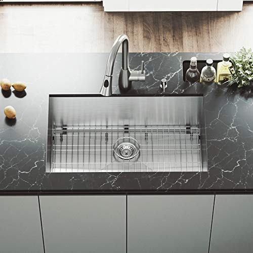 (VIGO 30 inch Undermount Single Bowl 16 Gauge Stainless Steel Kitchen Sink with Aylesbury Stainless Steel Faucet, Grid, Strainer and Soap Dispenser)