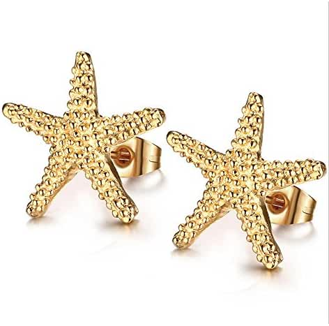 SmileMissH Fashion Jewelry Titanium Gold Starfish Earring for Womens
