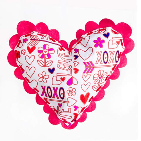 Color-in Heart Pillows are Unique Valentine Crafts for Kids. Use The Markers, Printed Pillow, Yarn and Plastic Needle to Create a Love-ly Gift from The Heart. (Needle Embellishment)