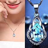 Gorgeous 925 Silver Blue Topaz Crystal Drop Pendant Necklace Wedding Jewelry BySumanee