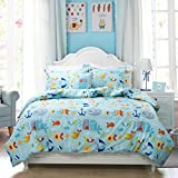 nautical bedding full size - Toddler Bedding Sets Nautical Bedding for Boys Blue Fishes Printed Duvet Cover Set 3-Piece Full Size (No Comforter Included)