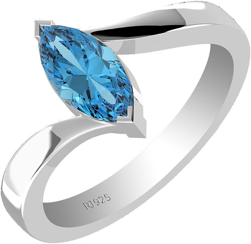 2.5 Marquise Designer Statement Bridal Classic Light Blue Topaz Ring 14k Rose GD