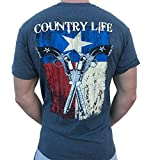 Country Life Texas Flag and Guns Gray Short Sleeve Shirt (Small) For Sale