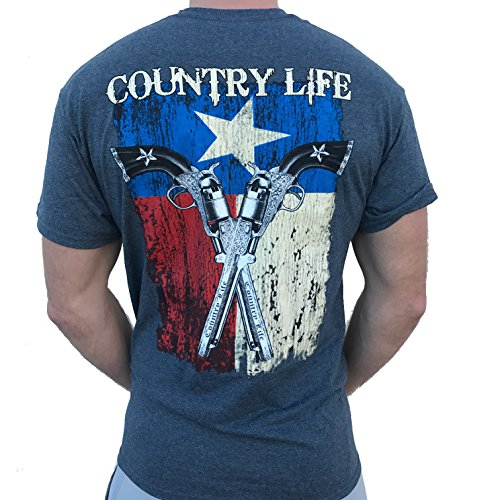 Cheap Country Life Texas Flag and Guns Gray Short Sleeve Shirt (X-Large)