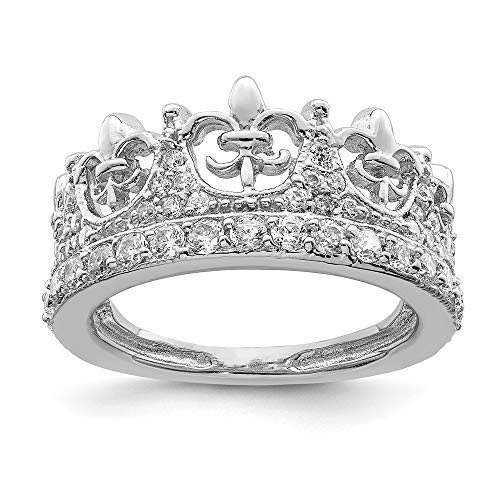 925 Sterling Silver Fleur De Lis Crown Cubic Zirconia Cz Band Ring Size 8.00 Fine Jewelry Gifts For Women For -
