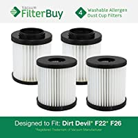 4 - Dirt Devil F-22 F-26 Washable HEPA Replacement Filters, Part # 1-LV1110-000. Designed by FilterBuy to fit Dirt Devil Aspire Model 084590 & Featherlike Model 085850