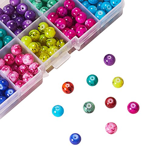 PH PandaHall 1 Box (About 240 pcs) 10 Color 8mm Round Baking Painted Drawbench Glass Beads Assortment Lot for Jewelry Making