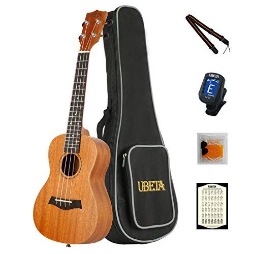 (UBETA UC-041 Concert Ukulele 23 Inches Mahogany Ukulele Bundle With Aquila strings (7 in 1 Kit): Gig bag, clip-on Tuner, Picks, Strings,Chord card and Color Strap)