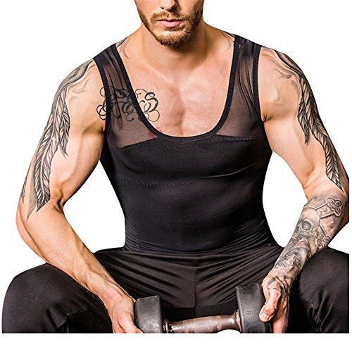 TenMet Men's Gynecomastia Slimming Abdomen Control Compression Vest Top Underwear Mesh Seamless Body Shape, BLACK, LARGE
