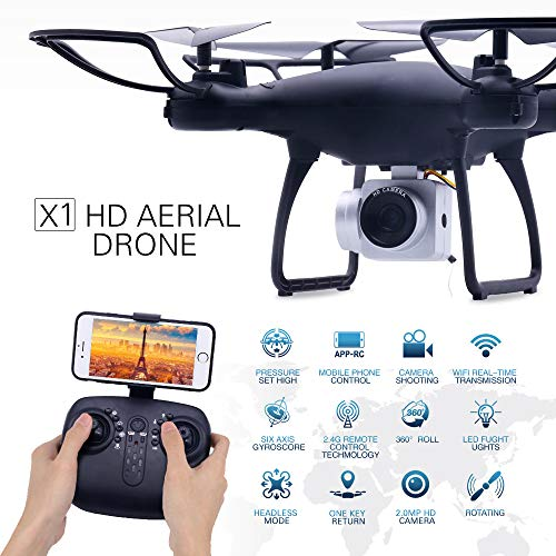 (RC Drone with 720P HD Adjustable Camera Live Video FPV for Adults and Beginners 40mins Flight Time Drone Quadcopter,APP Controlled Altitude Hold/Long Flight Time Helicopter Toy Bonus Battery (Black))