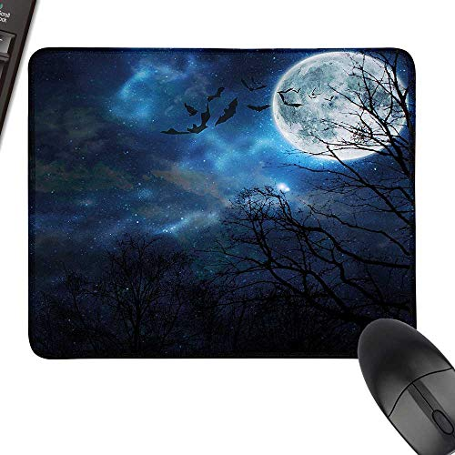 Halloween Gaming Mousepad Bats Flying in Majestic Night Sky Moon Nebula Mystery Leafless Trees Forest for Computers, Laptop, Office & Home 23.6