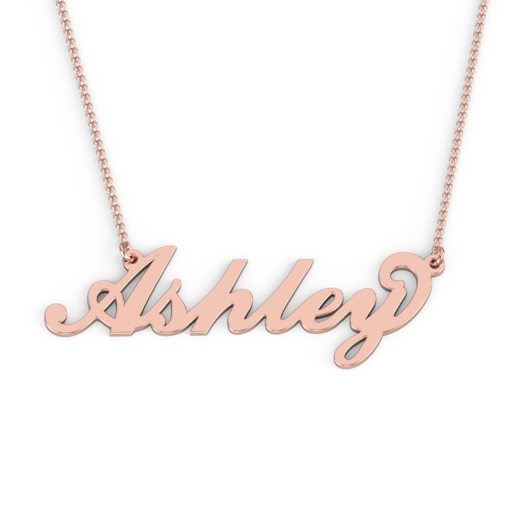 10K Personalized Name Necklace in Flourish Font by JEWLR
