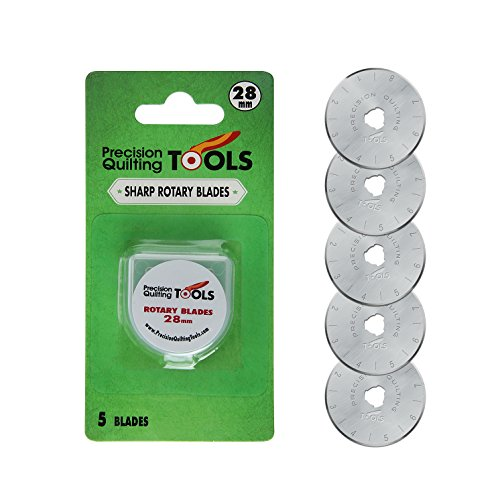 28mm Rotary Cutter Blades (PACK OF 5) SKS-7 Carbide Tool Steel, Fits Olfa, Truecut, and Martelli. Perfect blade for Fabric, Quilting, and Arts & Crafts