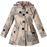 Long Sleeves Vintage Floral Print Chino Cotton Hooded Hoodie Trench Coat Outerwear Windbreaker for Little Girls & Big Girls, B-Khaki, 7-8 Years=Tag 140