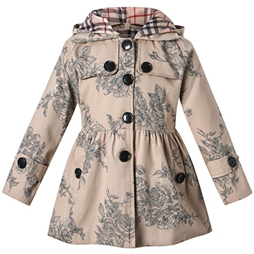 Long Sleeves Vintage Floral Print Chino Cotton Hooded Hoodie Trench Coat Outerwear Windbreaker for Little Girls & Big Girls, B-Khaki, Age 5T-6T (5-6 Years) = Tag (Hoodie Trench)