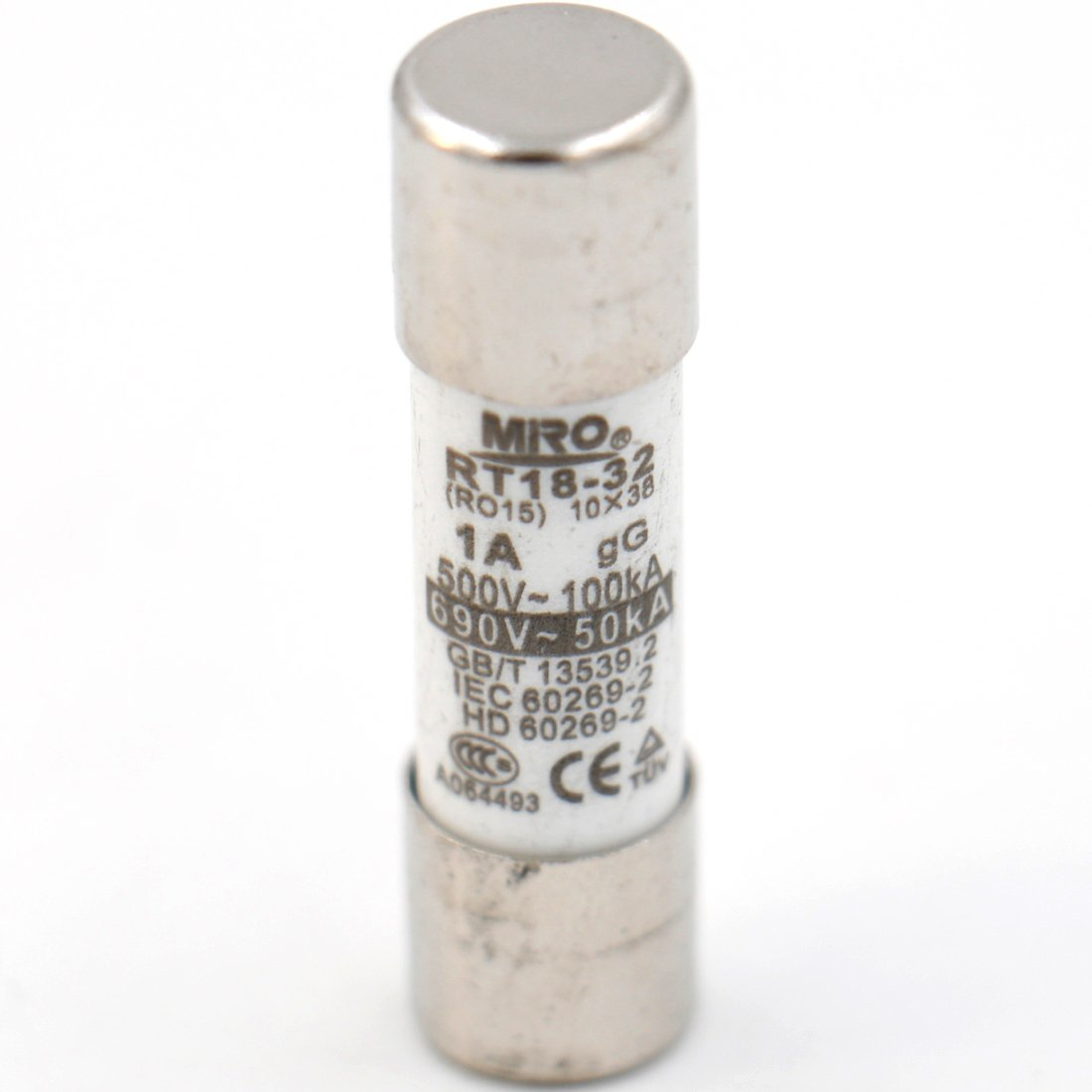 RO15 RT14 RT19 Baomain Fuse Link RT18-32 Cylindrical Ceramic Tube 10x38mm 500V 1A CE T/üV Listed 10 Pack Miro Electric