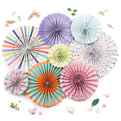 Festive Decorations - PapaKit Origami Wall Decoration Set (8 Assorted Round Paper Fans) Birthday Party Baby Shower Wedding Events Decor | Creative Art Design Pattern (Festive Colors with Mixed Patterns, 8 Piece Set)