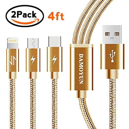 Multi Charger Cable,DAMOYUN 4FT Nylon Braided Lightning Cable Type Micro 3in1 Multiple USB Charging Cable Cord Adapter for iPhone X/8 8 plus/7 7 plus/iPad/Galaxy S8 plus//Lg V20/Android (Golden) well-wreapped