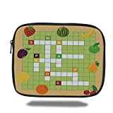 Laptop Sleeve Case,Word Search Puzzle,Vivid Graphic Summer Fruits with Educational Crossword Game for Kids Decorative,Multicolor,iPad Bag