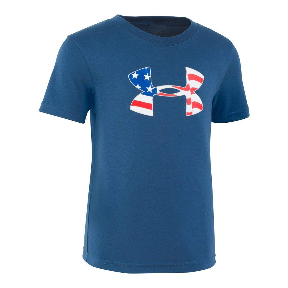 Under Armour Boys' Little Big Logo Short Sleeve Tee Shirt, Petrol Blue-S192, 4 by Under Armour