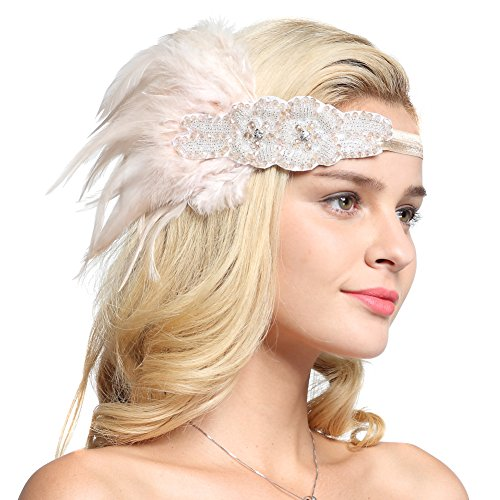30s Dance Costumes (FAIRY COUPLE Gatsby Party Wedding Headband Flapper Costume Accessories Feather Headpiece Champagne)