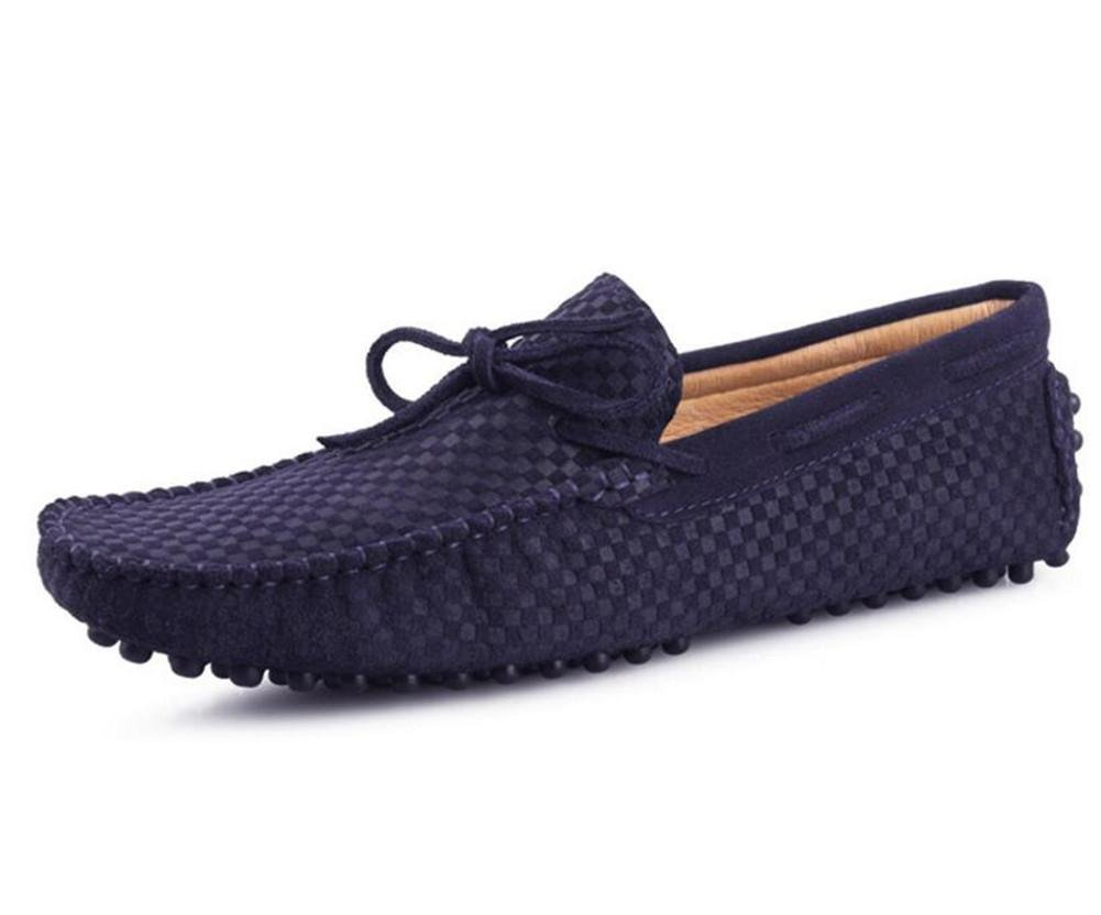 Hombres Zapatos Rhombus Lattice Suede Driving Smart Casual Mocasines Slip On Black Blue Talla 38 a 44 , Dark blue , EU38 EU38|Dark blue