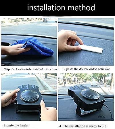 si scalda in 30/secondi 150/W riscaldatore portatile da automobile 12/V elimina ghiaccio e condensa sbrinatore Tkstar riscaldatore in ceramica con ventola di raffreddamento a 3 uscite