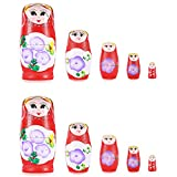 Neewer® 2 Pack Hand Painted Nesting Matryoshka Doll 5 Piece Set, Great Gift for Friends and Kids