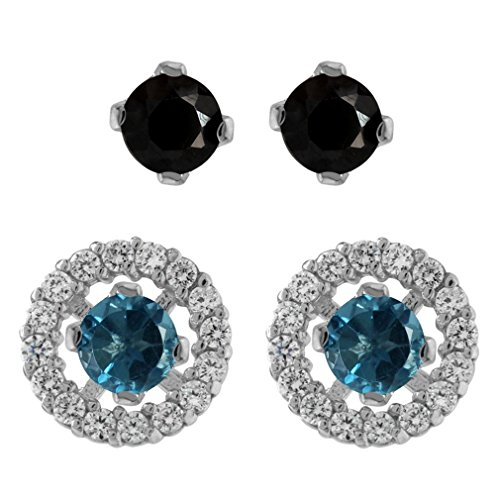 2-Pair Set London Blue Topaz & Black Spinel 925 Sterling Silver Interchangeable Halo Stud ()