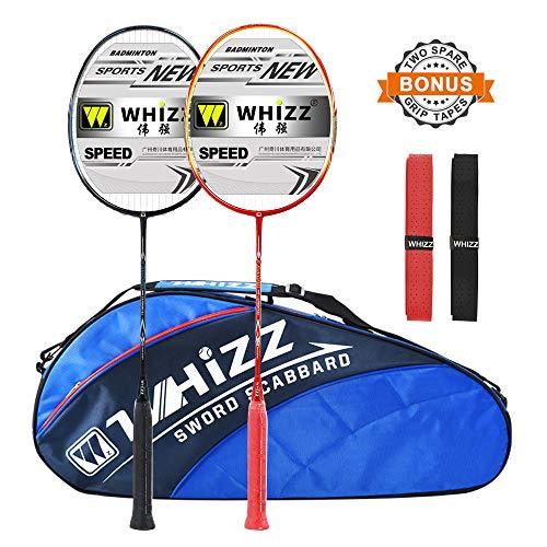 WHIZZ Anti Scratch Badminton Racket Set 2 PCS with Bag and Grip